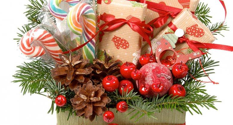 Новогодние подарки в коробке, корзине с доставкой по Украине