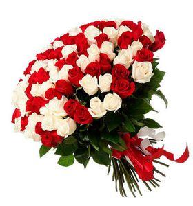 Букет 101 красно-белая роза, 60 см