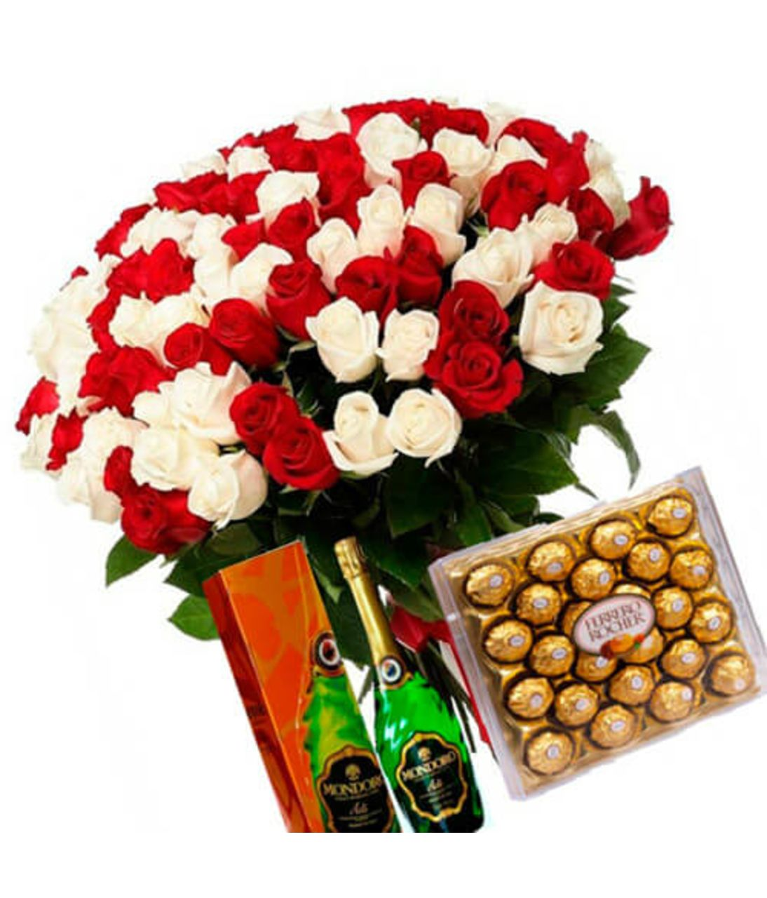 101 червоно-біла троянда. Superflowers.com.ua.