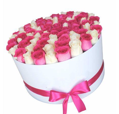 101 роза микс в шляпной (круглой) коробке. superflowers.com.ua. Купить розы микс в коробке