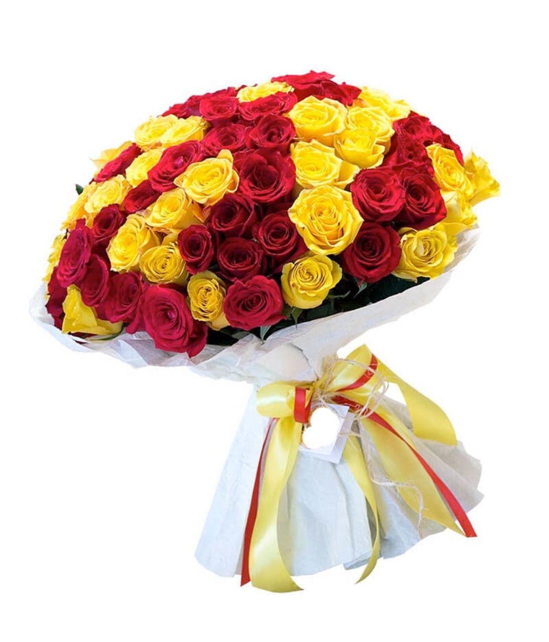"""Букет 101 роза"""" С Днем Рождения"""". Superflowers. Купить букет из разных цветов роз в Киеве"""