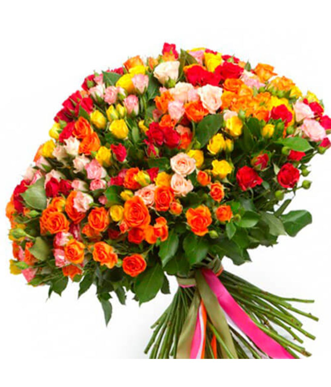 Букет из 101 кустовой розы. Superflowers.com.ua. Купить букет 101 розы в Киеве