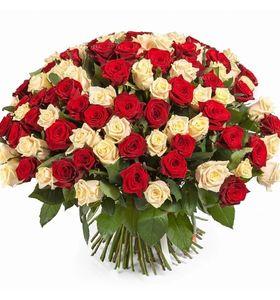 Букет из 101 розы микс. Superflowers.com.ua