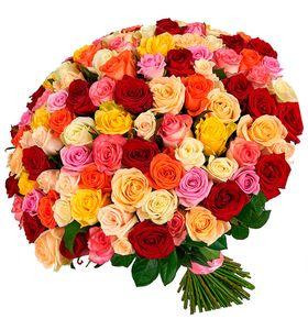"""Букет из 101 розы микс """"Счастье"""". superflowers.com.ua. Закажите большой букет роз 101 штука  в Киеве"""