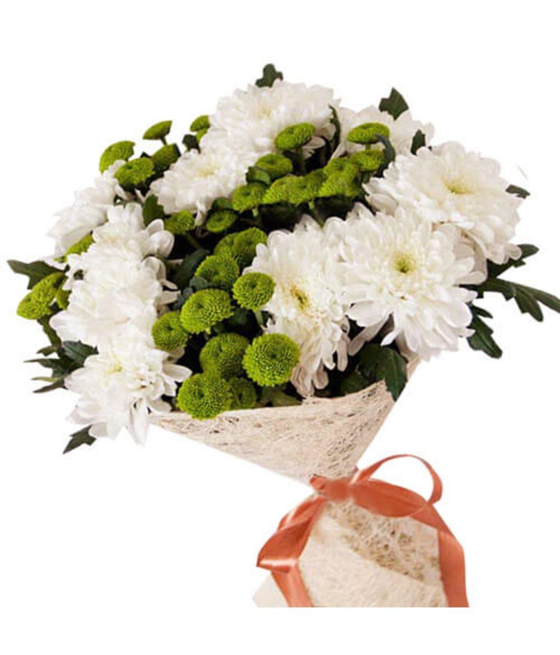 Букет з білих хризантем. Superflowers.com.ua. Інтернет-магазин квітів Супер Фловерс
