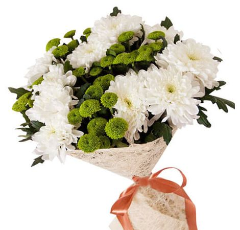 Букет из белых хризантем. Superflowers.com.ua. Интернет-магазин цветов Супер Фловерс