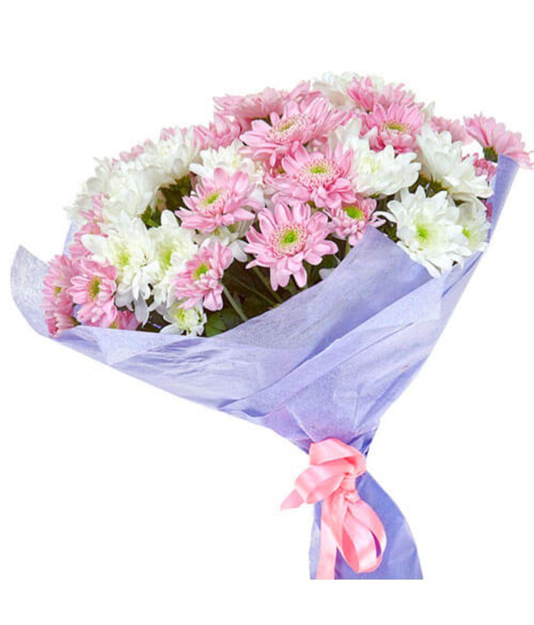 """Букет из 7 хризантем """"Утренний свет"""". superflowers.com.ua. Сборный букет хризантем"""