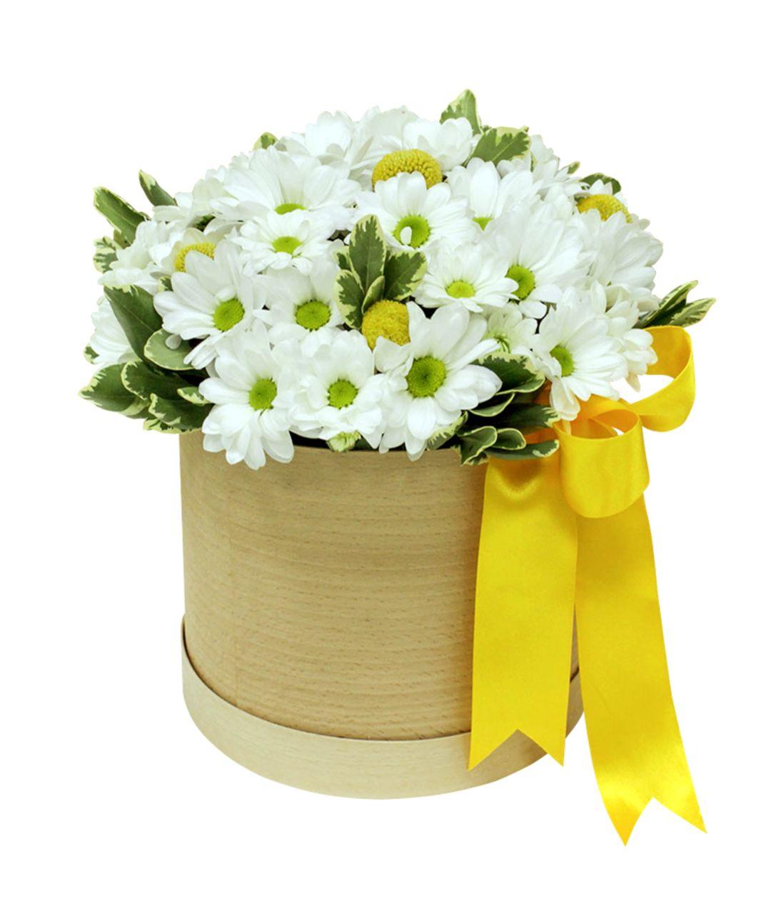 Хет коробка з хризантемами. superflowers.com.ua. Купити букет білих хризантем в шляпній коробці