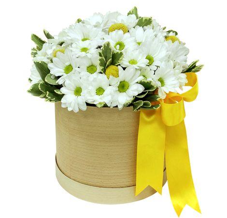 Шляпная коробка с Хризантемами. superflowers.com.ua. Купить букет белых хризантем в шляпной коробке