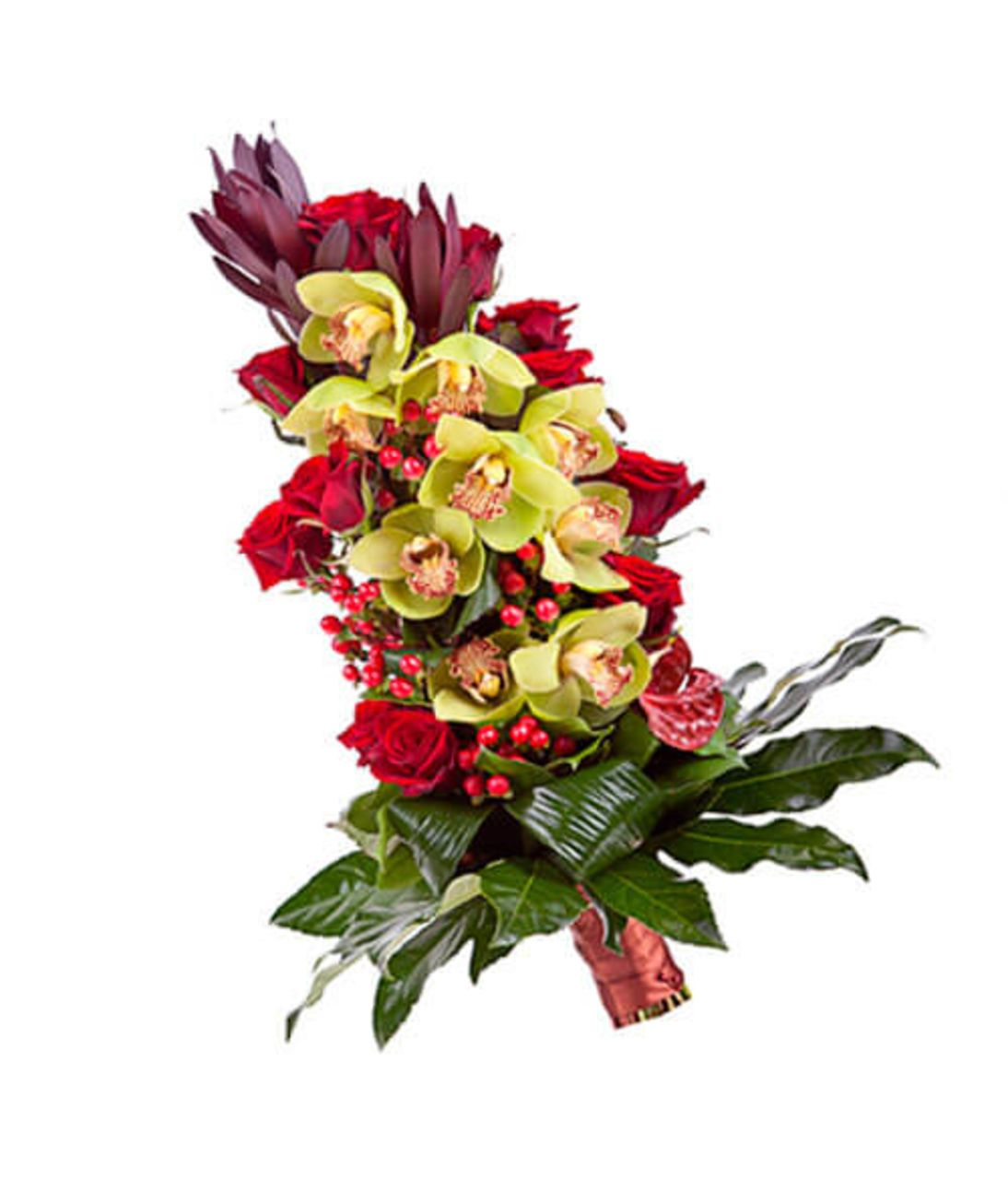 Сборный букет из орхидей и роз