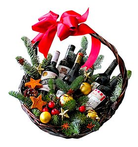 Подарунковий новорічний кошик з вином