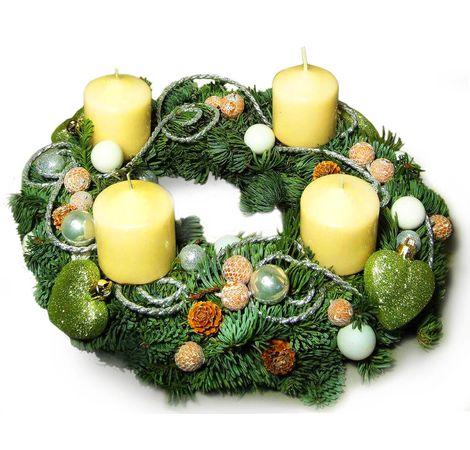 """Новорічний вінок """"Ніколіна"""". superflowers.com.ua. Купити різдвяний вінок з жовтими свічками"""