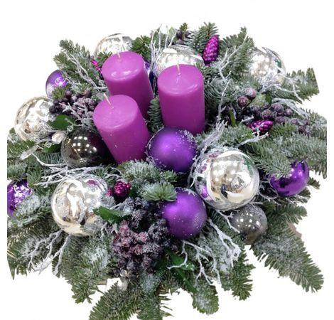 """Новогодняя композиция """"Сиреневая дымка"""". superflowers.com.ua. Купить рождественскую композицию на новый год"""