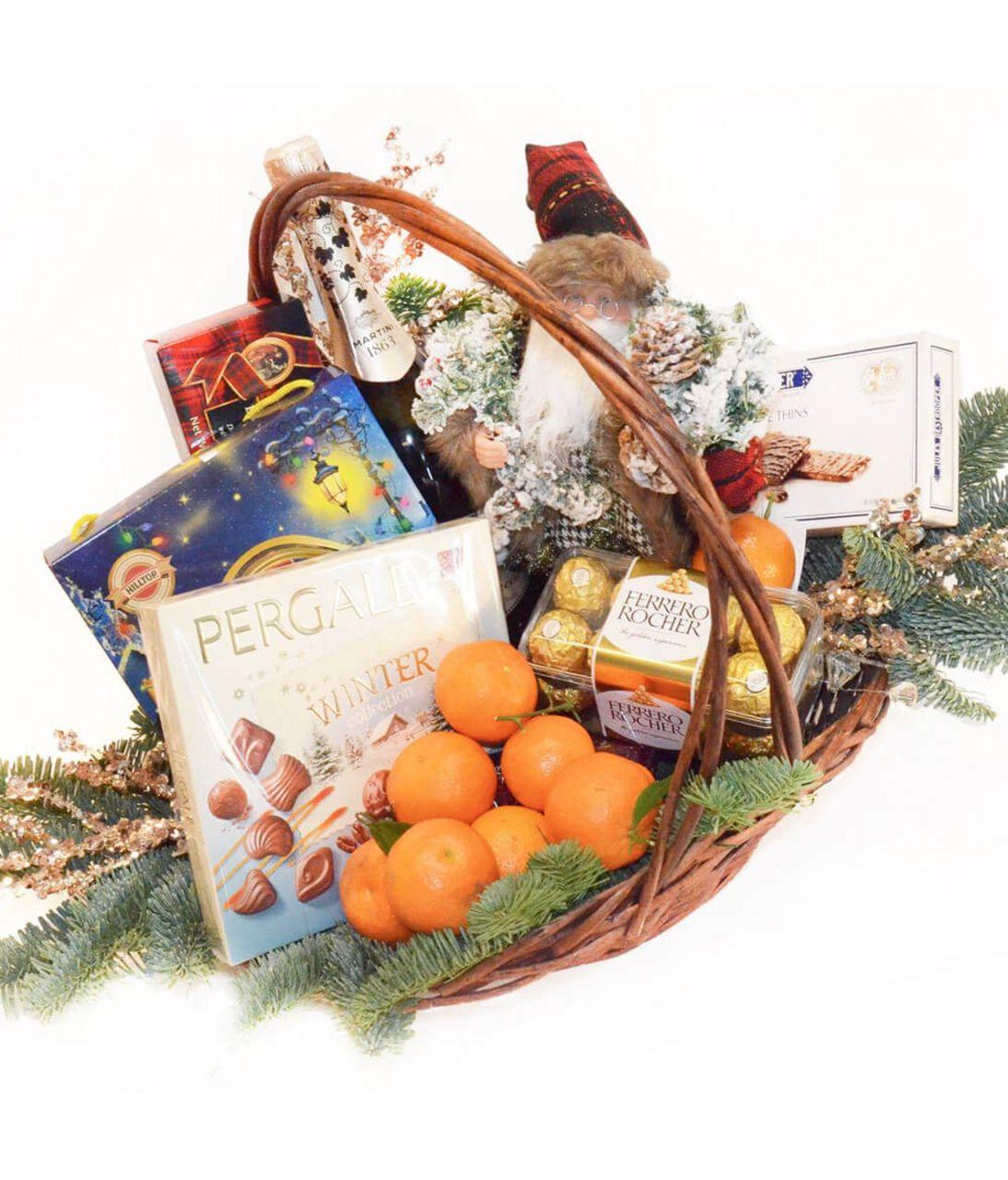 Новорічний кошик з мандаринами. superflowers.com.ua. Купити кошик до нового року