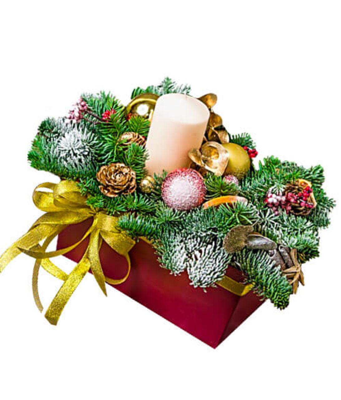 Рождественская композиция в коробке. superflowers.com.ua. Купить композицию к Рождеству