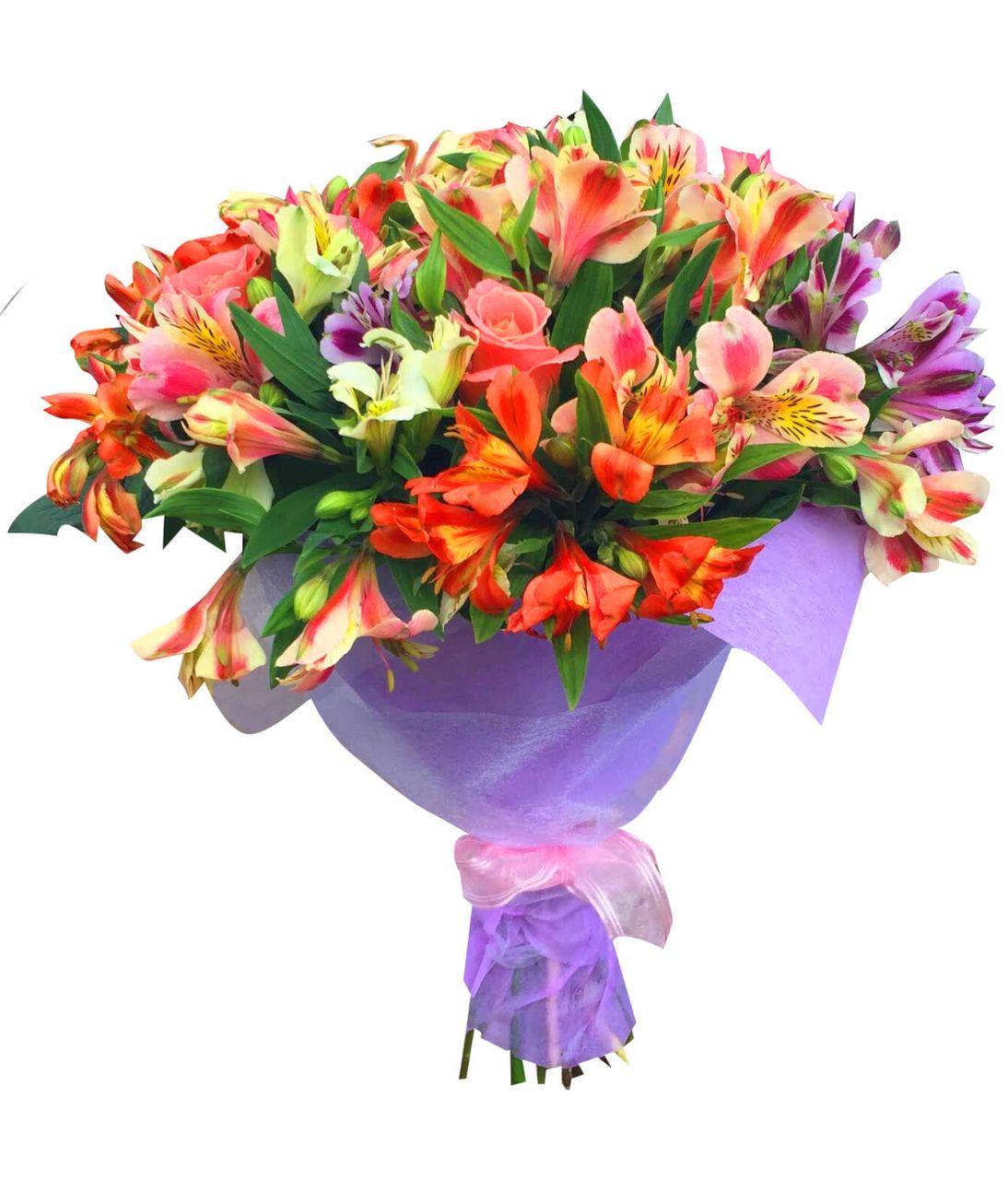 """Букет из 15 альстромерий """"Летнее настроение"""". Superflowers.com.ua. Заказать цветы Альстромерии с доставкой"""
