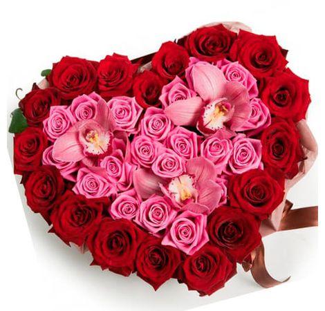 "Сердце из роз ""Жаклин"". Superflowers.com.ua"