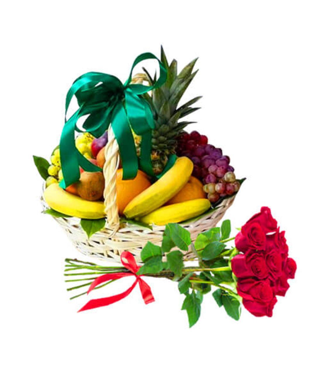 """Фруктово цветочная корзина """"Фруктовый взрыв"""". Superflowers.com.ua"""