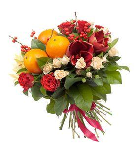 """Фруктовый букет микс с живыми цветами """"Праздничный"""""""