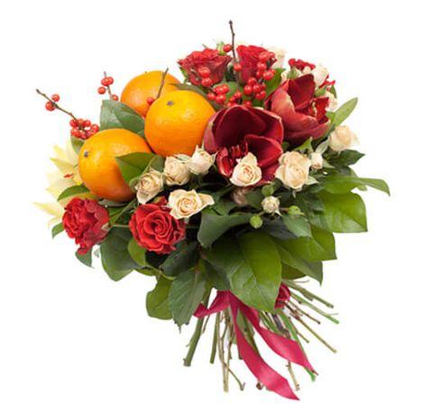 """Фруктовий букет з живими квітами """"Святковий"""". Superflowers.com.ua. Купити фруктовий букет в інтернет-магазині"""