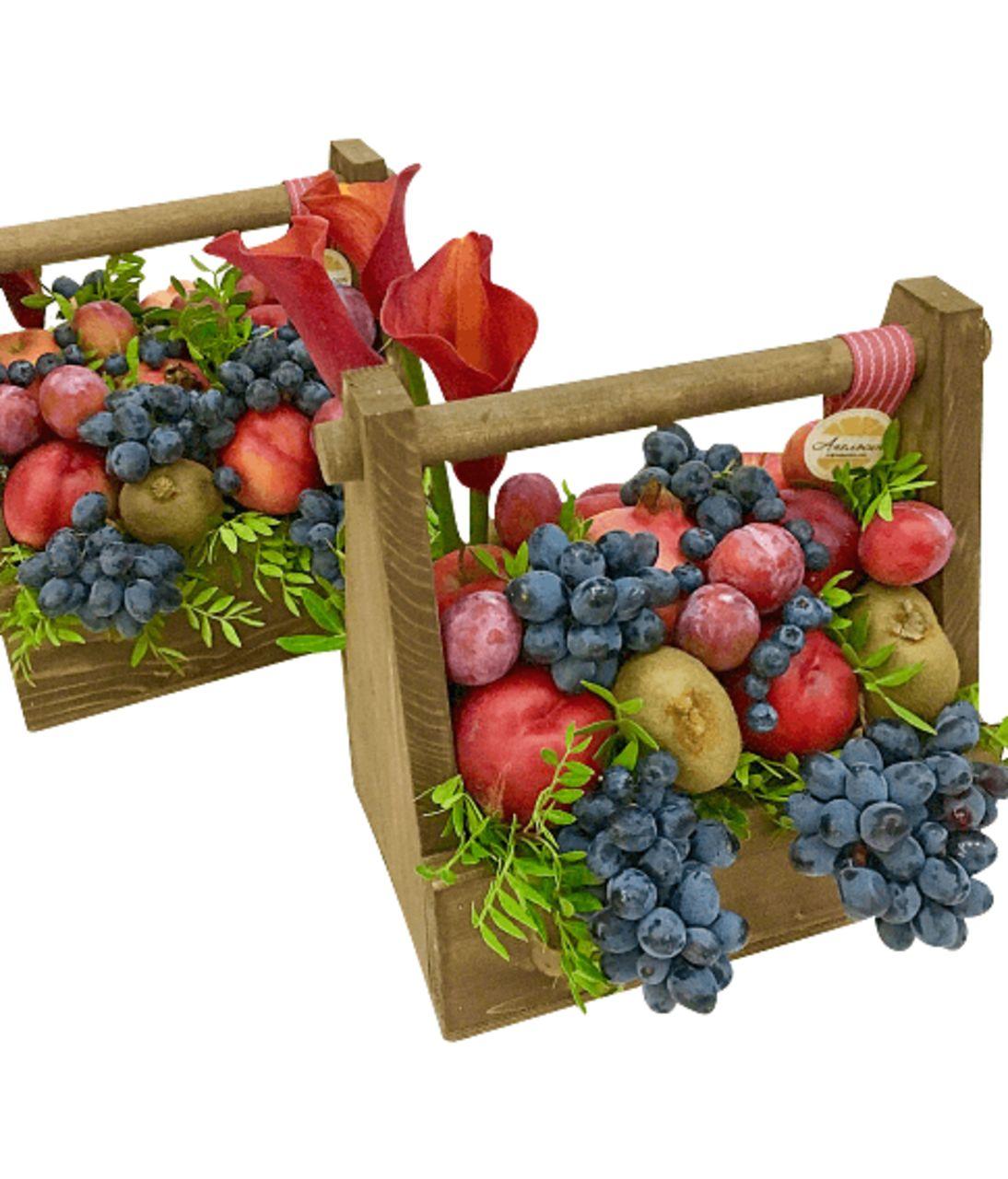 """Подарочная деревянная коробка с фруктами """"Виноград"""". superflowers.com.ua. Закажите подарочную коробку из дерева с ручкой и фруктами"""