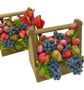"""Подарочная деревянная коробка с фруктами """"Виноград"""""""