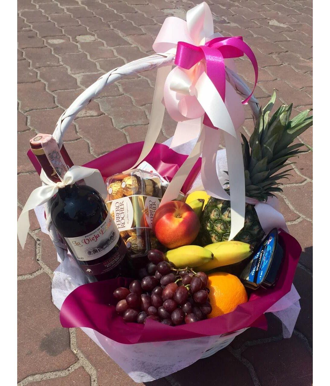 """Подарочная корзина с фруктами """"Праздничный день"""". Superflowers.com.ua. Купить фрукты в подарочной корзине с доставкой"""