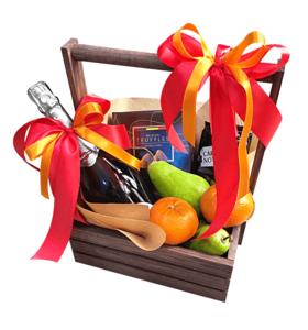 Подарочный фруктовый набор в деревянном ящике