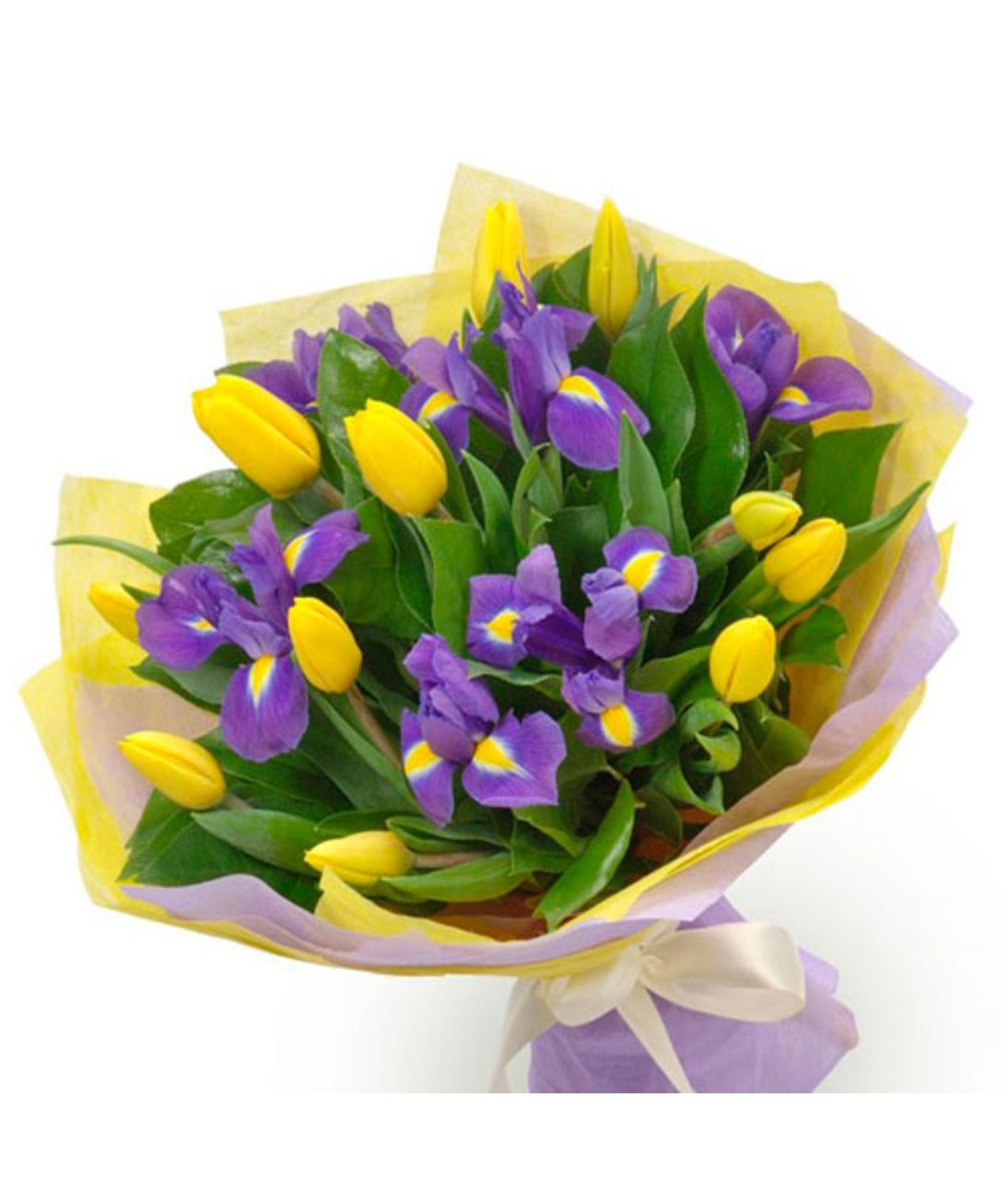 """Сборный Букет из ирисов и тюльпанов """"Тандем"""". Superflowers.com.ua"""