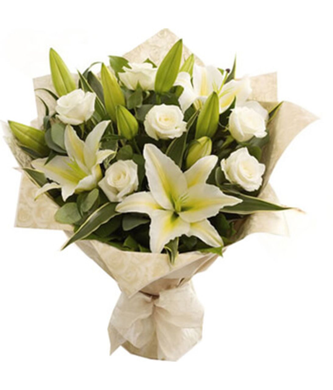 Букет микс из лилий и роз. Superflowers.com.ua