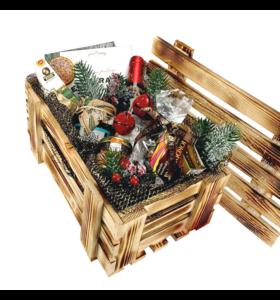 """Дерев'яний новорічний ящик """"Велике привітання"""""""