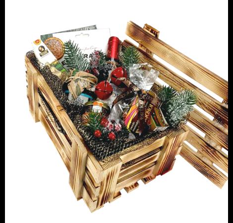 """Деревянный новогодний ящик """"Большое поздравление"""". superflowers.com.ua. Купить новогодний ящик по доступной цене"""