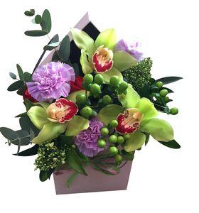 """Квадратная коробка Орхидей """"Цветочный домик"""""""