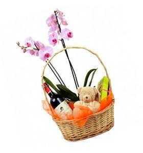 Орхидея в корзине с сюрпризом