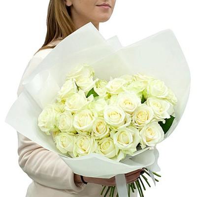 """Букет 25 белых роз, 60см """"Совершенство"""""""