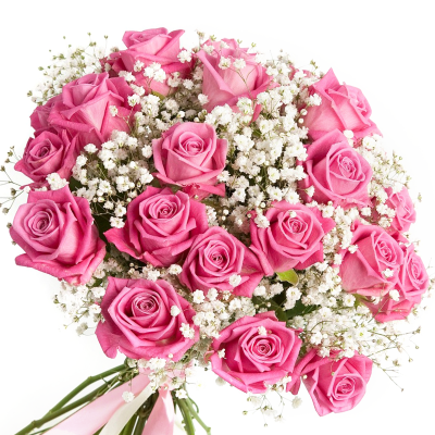 """Букет из 19 розовых роз """"Снежинка"""""""