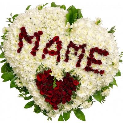 """Большой букет из роз и хризантем """"Маме"""""""