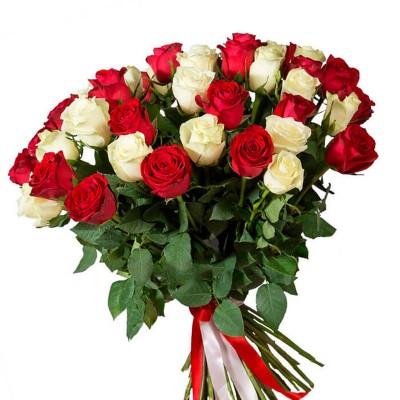 Букет 51 красно - белая роза 60 см