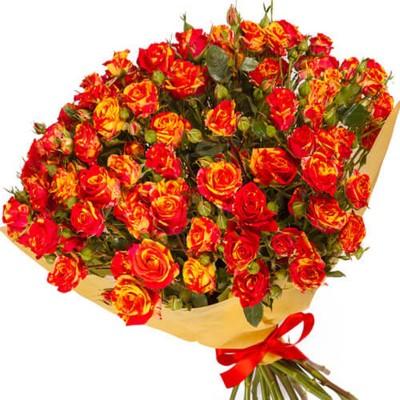Букет из 15 кустовых роз, 60см