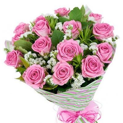 """Букет из 15 роз, 60см """"Розовое облако"""""""