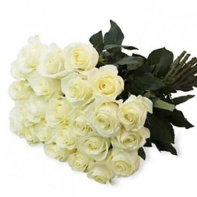 """Букет из 25 белых роз, 60см """"Любимой девушке"""""""