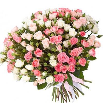 """Букет из 51 кустовой розы, """"Красота"""""""