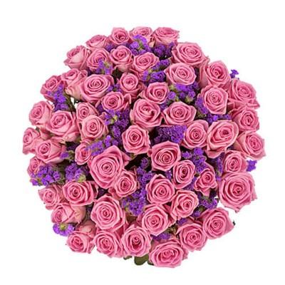 """Букет из 51 розовой розы, 60см """"Подарок любимой"""""""