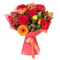 """Букет з троянд і гербер """"Фламенко"""""""