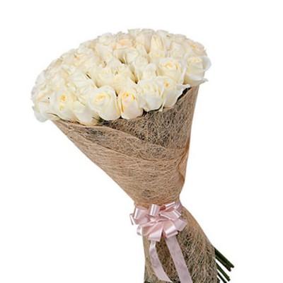 """Букет из 25 белых роз, 80см """"Королева"""""""