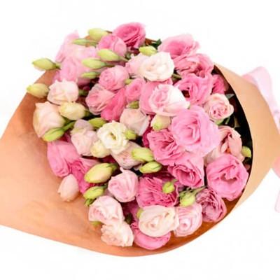 Букет из розовой эустомы 9 шт