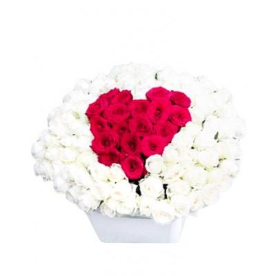 """101 роза в форме сердца """"Любимой девушке"""""""