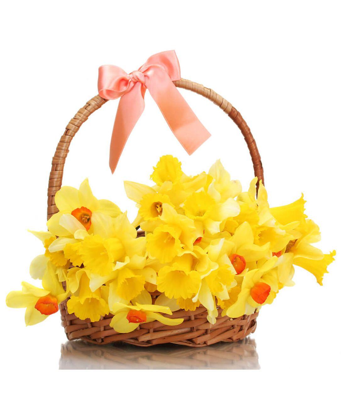 "Нарциси в кошику ""Відображення весни"". Superflowers.com.ua"