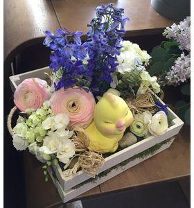 """Весняний букет в дерев'яній коробці """"Привіт Весна!"""""""