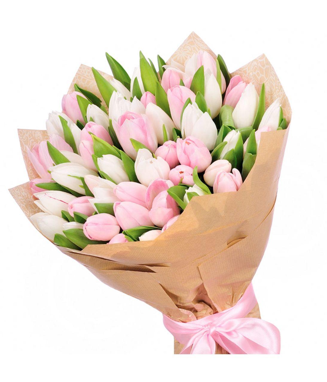 Букет из 35 бело-розовых тюльпанов. superflowers.com.ua. Купить большой букет из 35 тюльпанов микс в Киеве